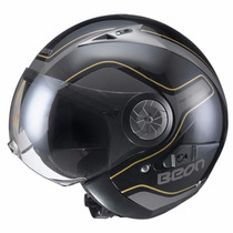 Casco Beon B 216 Gold Black Abierto Doble Visor En Fas Motos