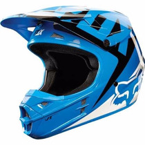Casco Fox V1 Moto Cross Enduro Mx Azul Blanco En Fas Motos