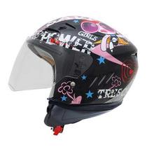 Casco Moto Abierto Shiro Sh-20 Tres Chic Negro Mujer Dama