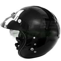 Casco Abierto Zeus Gj 380 Negro Brillo C/visor En Fas Motos
