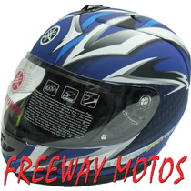 Casco Integral Yamaha Azul Ybr Xtz Fz16 En Freeway Motos !