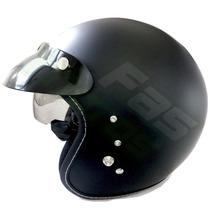 Casco Abierto Zeus Gj 380 Matt Black C/visor 2016 Fas Motos