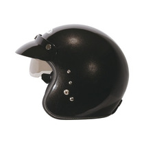 Casco Abierto Zeus Gj 380 Metallic Black Visor Visera