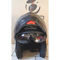 Casco Revatible Okn1 Doble Visor Carbono Motos Coyote Moron!