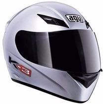 Casco Agv Solid Silver K3 Alta Gama - Motoscba