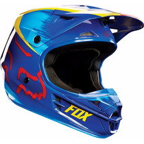 Casco V1 Vandal Yellow/blue Fox - Team Motorace -