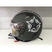 Casco Hawk Rs9 Us Army Verde Militar Cafe Racer Bober Choper