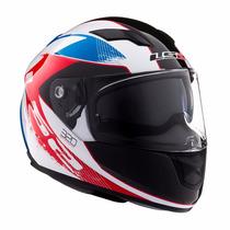 Casco Ls2 Ff320 Stinger White Blue Red Doble Visor Motodelta