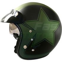 Casco Abierto Zeus Gj 380 Verde Con Negro Mate C/visor Fas