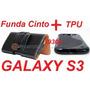 Funda De Cuero P/cinto Negra + Tpu Samsung Galaxy S3 I9300!