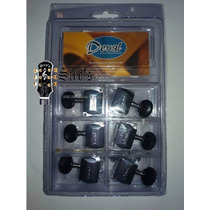 Clavijero Clavijas Para Guitarra Deval 3+3 Boton Negro Blind