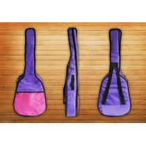 Funda Para Guitarra Clásica Rosa O Violeta Acolchada 10 Mm