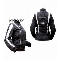 Campera Moto Cordura Impermeable C/proteccion Dama,mujer
