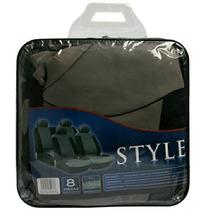 Set Fundas Para Asientos Style Polyester 8 Piezas Gris