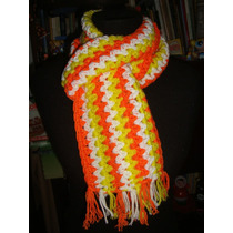 Retro Vintage Años 70 Bufanda Tejida Al Crochet