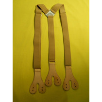 Tirador Pantalón Suspenders Doble Ojal Boton Beige 3cm