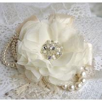 Tocados Novias Con Flores De Raso,perlas Y Strass