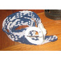 Cinturon Azul Y Blanco De Hilo De Seda