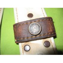 Levis Cinturon Original Años 70 Lona Blanca Y Cuero Unisex