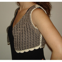 Mini Chaleco De Algodon A Crochet Color Chocolate - Unico!!!