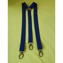 Tirador Pantalón Suspenders Mosqueton Bronce Azul Fran 3cm