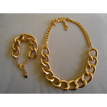 Collar Y Pulsera - De Cadena Gruesa De Aluminio Dorado