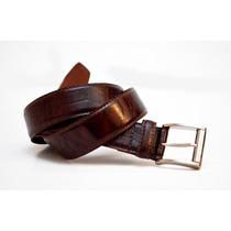 Cinturon De Vestir Hombre Cuero Croco Marron Cueros Liberty