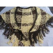 Chalina De Hilo Gruesa Telar A Cuadros Terminación Crochet