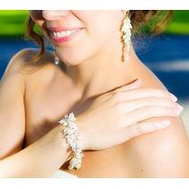 Pulsera Dijes Colgante Aros Perlas Strass Cristal Novias 15