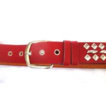 Cinto Cinturon De Damas Rojo Con Tachas