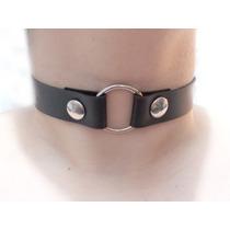 Gargantilla Choker Collar O-ring Blanco Negro Rocker Unisex