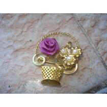 Prendedor Canastita Flor Y 3 Perlitas Bonito Diseño