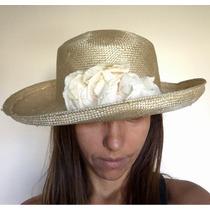 Sombrero De Dama Manteca Panama De Seda Finisimo!, Con Rosas