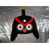Gorro Tejido Al Crochet Angry Bird Negro
