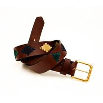 Cinto Cinturon Cuero Engrasado Bordado Inca - Cueros Liberty