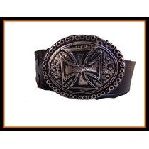 Cinturon Rockero ( Lonja De Cuero Y Hebilla Cambiable)