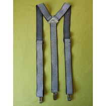 Tirador Pantalón Suspenders Pinza Madison Plateado 3cm