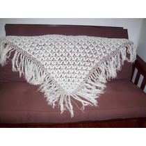 Chal Triangulo Tejido A Mano Lana Crochet-grande-blanco