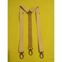 Tirador Pantalón Suspenders Mosqueton Presilla Cuero Nat 3cm