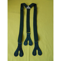 Tirador Pantalón Suspenders Doble Ojal Boton Verde Ingl. 3cm