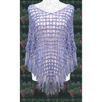 Poncho Tejido En Seda-bril Crochet Delicado Elegante