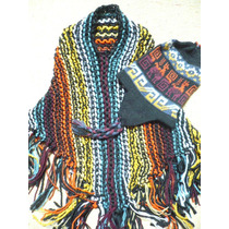 Poncho Y Gorro Andino Niño /a Tejido A Mano Vestimenta Coya