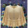 Poncho Capa Tejido Crochet Otoño Invierno Delicado Elegante