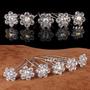 6 Pins De Cristal Blanco En Flor Para Peinados Quince Novia