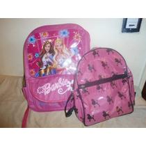 Lote De 2 Mochilas De Barbie Para El Cole O El Club!!