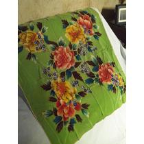 Antiguo Pañuelo En Pura Seda Natural Pintado A Mano
