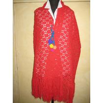 Chal Rojo Al Crochet Tejido A Mano