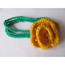 Vincha De Flor Grande Tejida Al Crochet