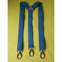 Tirador Pantalón Suspenders Mosqueton Presilla Azul Aero 3cm