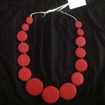 Collar De Madera Laqueada Rojo El Color Top Del Verano!